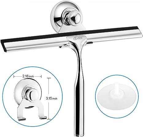 CRXOOX Rasquetas Limpiacristales para Ducha,Limpiador para Ventanas,Espejo Baño,Limpiador de Cristal en Acero Inoxidable Escobilla con 1 Goma de Repuesto y 1 Gancho: Amazon.es: Hogar
