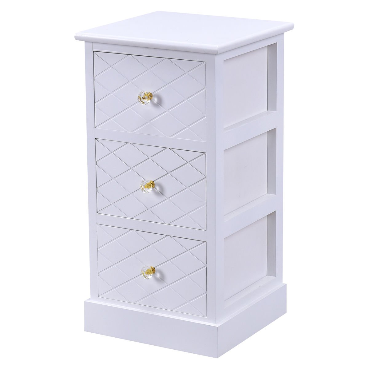Wooden Cabinet 3 Drawers Bedside Chest Table Storage End Table Bedroom Furniture Whiite