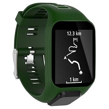 Correa de silicona Bescita, repuesto para reloj inteligente deportivo GPS TomTom Spark 3, color Army Green: Amazon.es: Deportes y aire libre