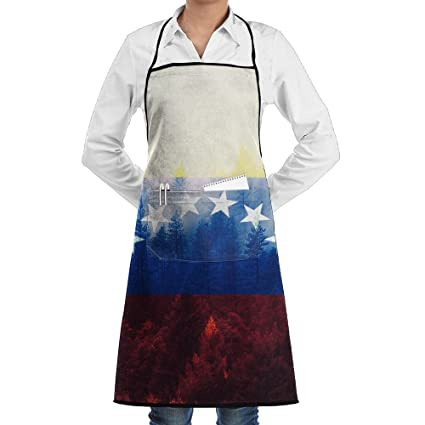 Venezuela bandera de bosque divertido delantales de cocina delantales de trabajo delantales con bolsillos, 28
