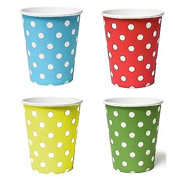 50 x Vasos (Azul, Amarillo, Verde, Rojo)/vasos desechables para bebidas frías y bebidas calientes de cartón respetuoso con el medio ambiente, ...