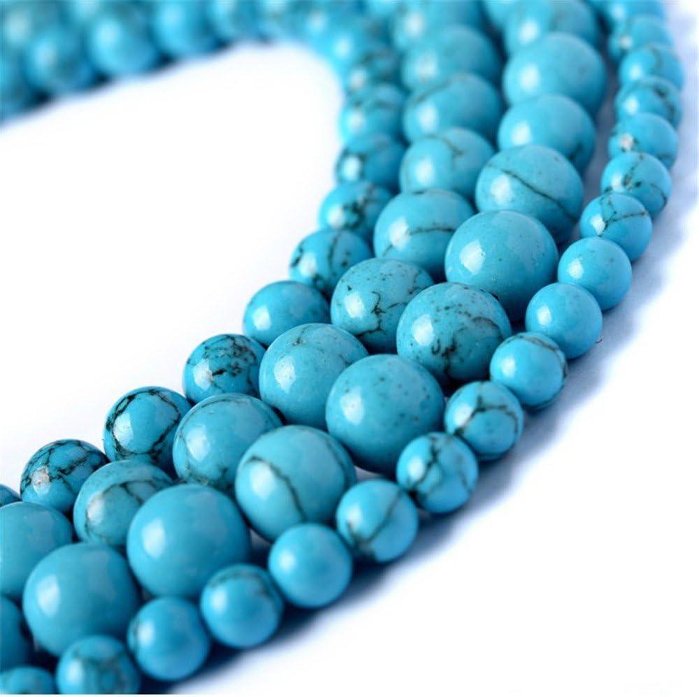 juliewang 2hebras piedra natural redonda sueltas cuentas azul turquesa Gemstone Healing para fabricación de joyería Crafts, 4 mm