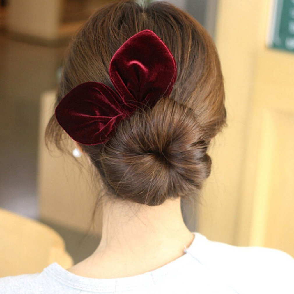 Pack of 12 Bunny Ear Hair Scrunchies Velvet Scrunchy Bobbles Elastic Hair Bands (Popular Mix Colors) by SUSULU (Image #6)