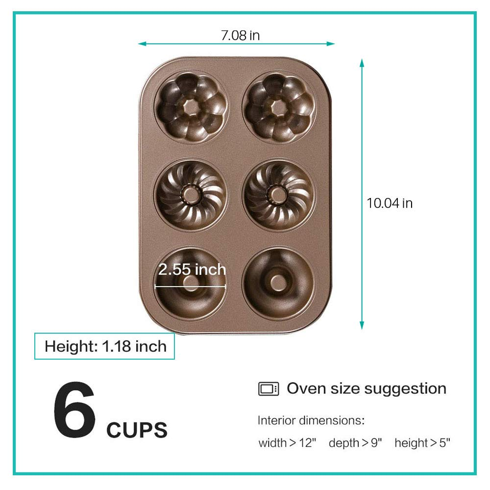 Cruller Baking Pan Donut Pan Makes 6 Donuts,3 Pattern and Non-Stick Donut Mold Safe Baking Tray Maker Pan for Cake Biscuit Bagels Donut Cake Mold 6-Cups Fancy by Indipartex (Image #4)