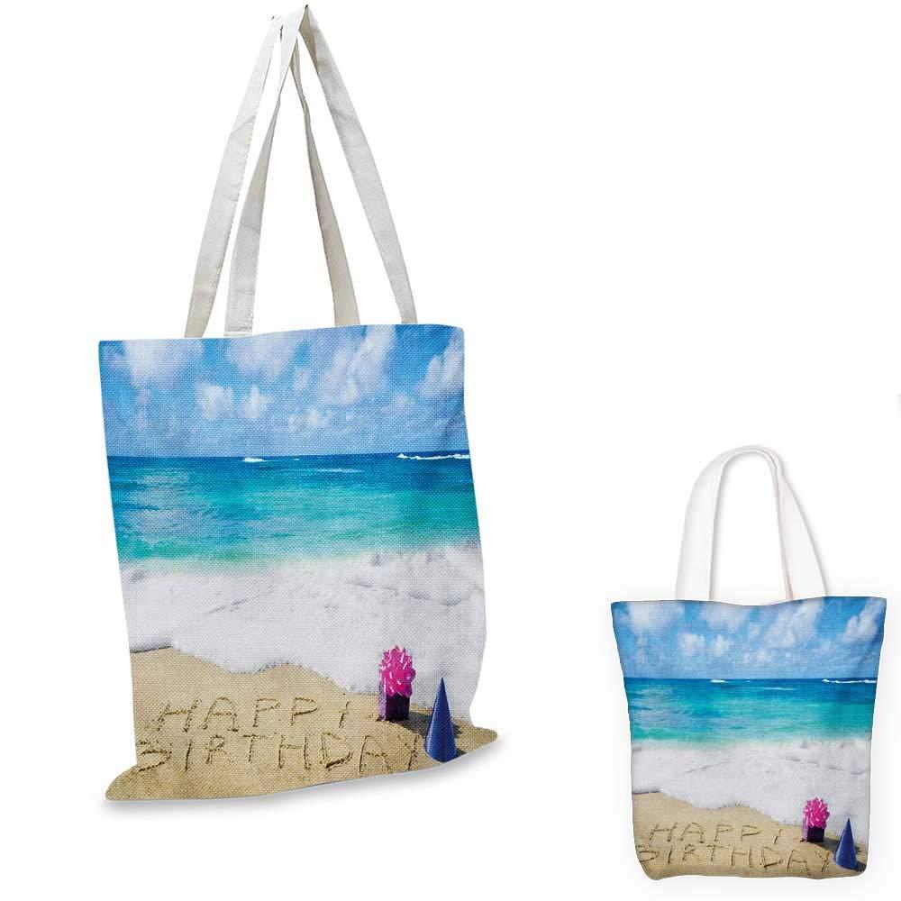 誕生日 ハッピーバースデーお祝い サンディビーチ パーティーハット付き 海 ブルー ペール ブラウン ピンク 12
