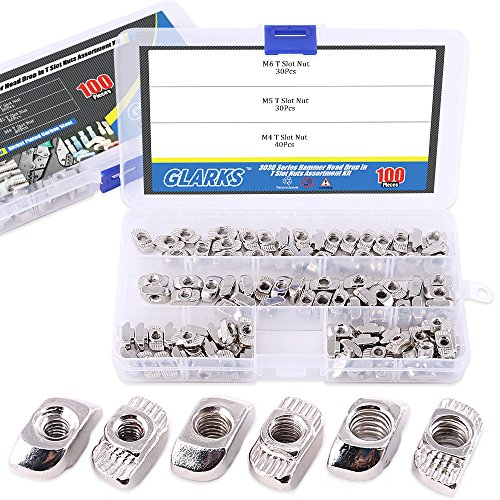 Glarks 100-Pieces 3030 Series European T Nut Assortment Kit, M3 M4 M5 Hammer Head Drop in T Slot Nuts for 30 Series Aluminum Profile - Nickel Plated Carbon Steel