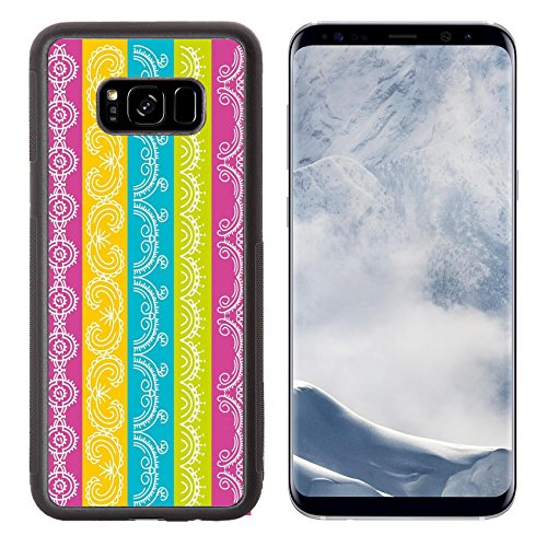 Liili Premium Samsung Galaxy S8 Plus Aluminum Backplate Bumper Snap Case seven decorative lines over color background B Photo 14248457 Simple Snap Carrying (Pattern Guilloche)