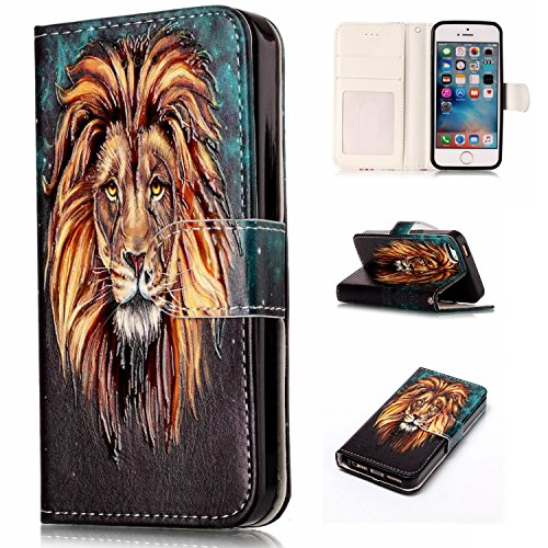 iPhone 5s Case, iPhone 5 Case, iPhone SE Case, Yutty Flip [Card Slots] [Kickstand] Premium PU Leather Wallet Case with ID & Credit Card Pockets Scratch Resistant Protective Cover for iPhone 5S/5/SE (Flip Speck Iphone Case 5s)