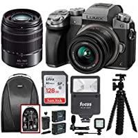 Panasonic Lumix DMC-G7KS 2 Lens Kit (14-42mm, 45-150mm) w/ 128GB Bundle, Mic, Backpack, Flash, Battery Kit