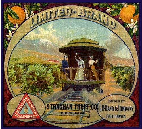 Riverside The Limited Train Caboose Orange Citrus Fruit Crate Box Label Art Print - Orange Caboose