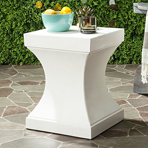 Safavieh Outdoor Collection Curby Modern Concrete Ivory 17.7-inch Accent Table Review