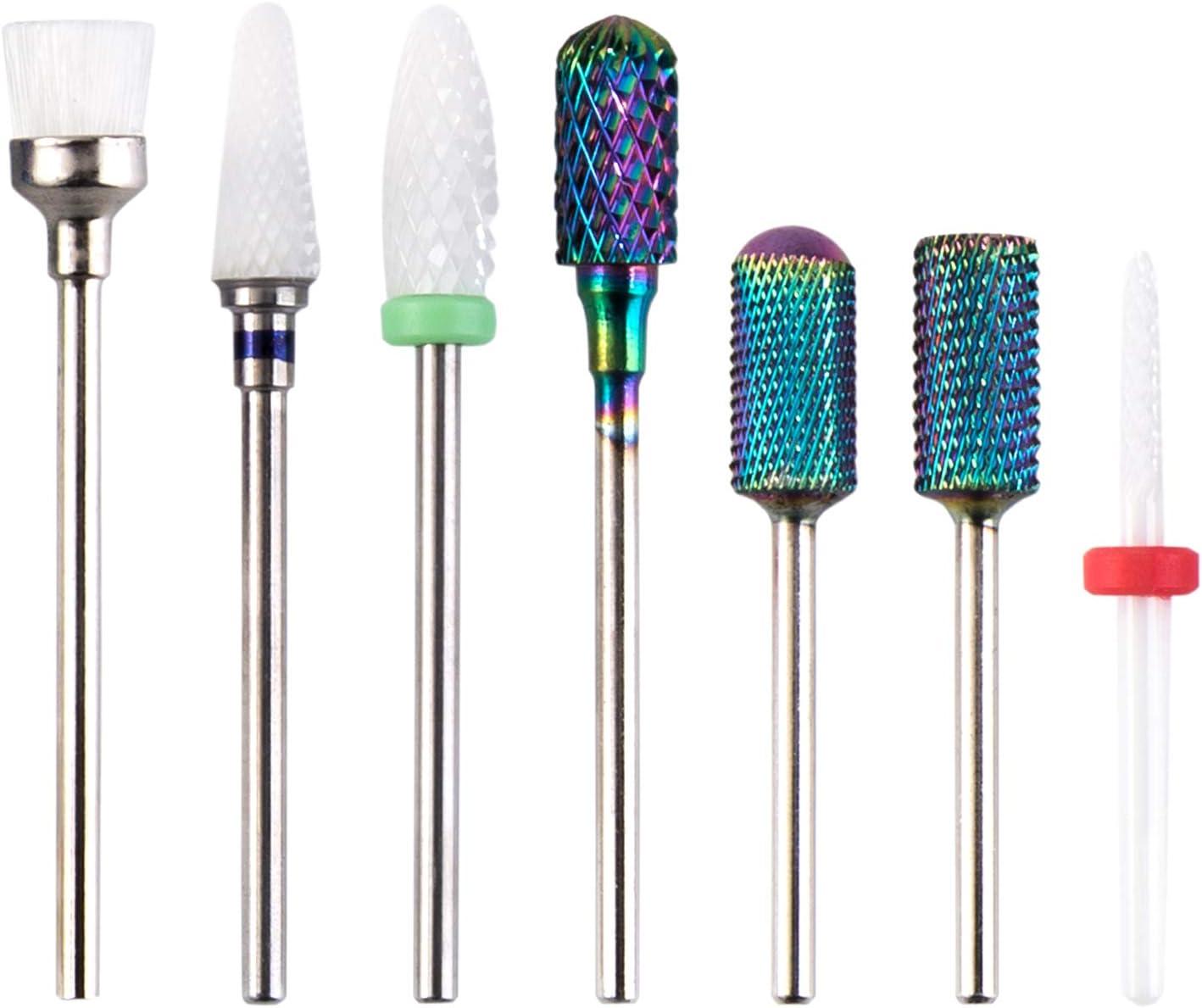"Nail Drill Bits Set, H/E Professional 7PCS Acrylic Cuticle Nails Art Files Manicure Pedicure Tools 3/32"" for Electric Nail Files Drill Machine Manicure Pedicure Home Salon Use"