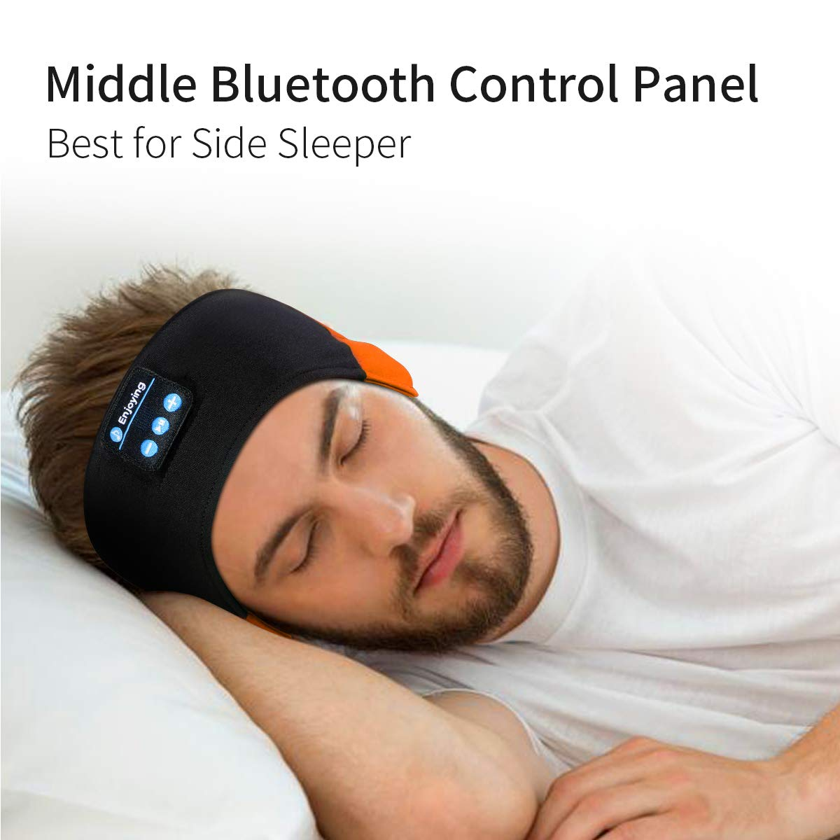 WU-MINGLU Bluetooth Headband Sleep Headphones, Wireless Music Sport Headbands Headsets Sleeping Headphone for Men,Women with Thin and Cool Fabric & Adjustable Earphones for Running, Yoga (Orange)