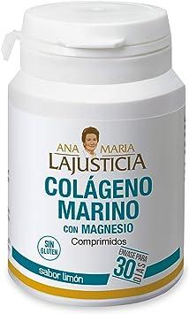Ana Maria Lajusticia - Colágeno marino con magnesio – 180 comp (sabor limón). Articulaciones fuertes y piel tersa. Regenerador de tejidos con colágeno hidrolizado tipo 1 y 2. Envase para 30 días.: