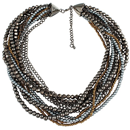 Gunmetal Tone Beaded Multi Strand Statement Necklace ()