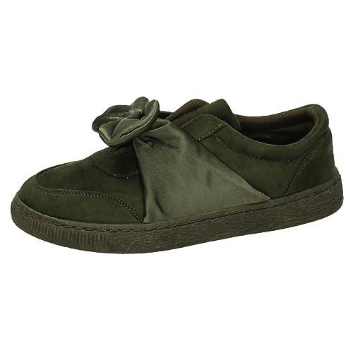 ZAPATOP H719 Bambas Lazo Tela Mujer Zapatillas Verde 36