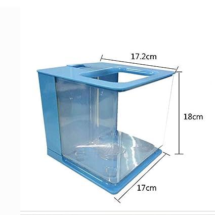 Pequeño Acuario Pecera De Agua Ecológica Creativa Creativa Mini Plástico De Escritorio Acuario Pequeño Autolimpiante Perezoso,Blue: Amazon.es: Hogar
