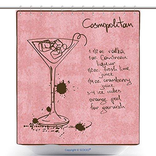 vanfan-Durable Shower Curtains Illustration With Hand Drawn Sketch Cosmopolitan Cocktail Including Recipe And Ingredients On The Polyester Bathroom Shower Curtain Set With Hooks(70 x 84 - For Cosmopolitan Write