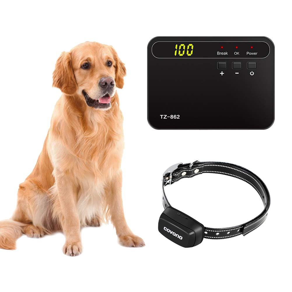 COVONO Underground Dog Containment System,Electric Dog Fence (In Ground Pet Fence,650Ft Wire,Waterproof,Rechargeable Collar,Static&Tone Correction,Support 1 Dog)