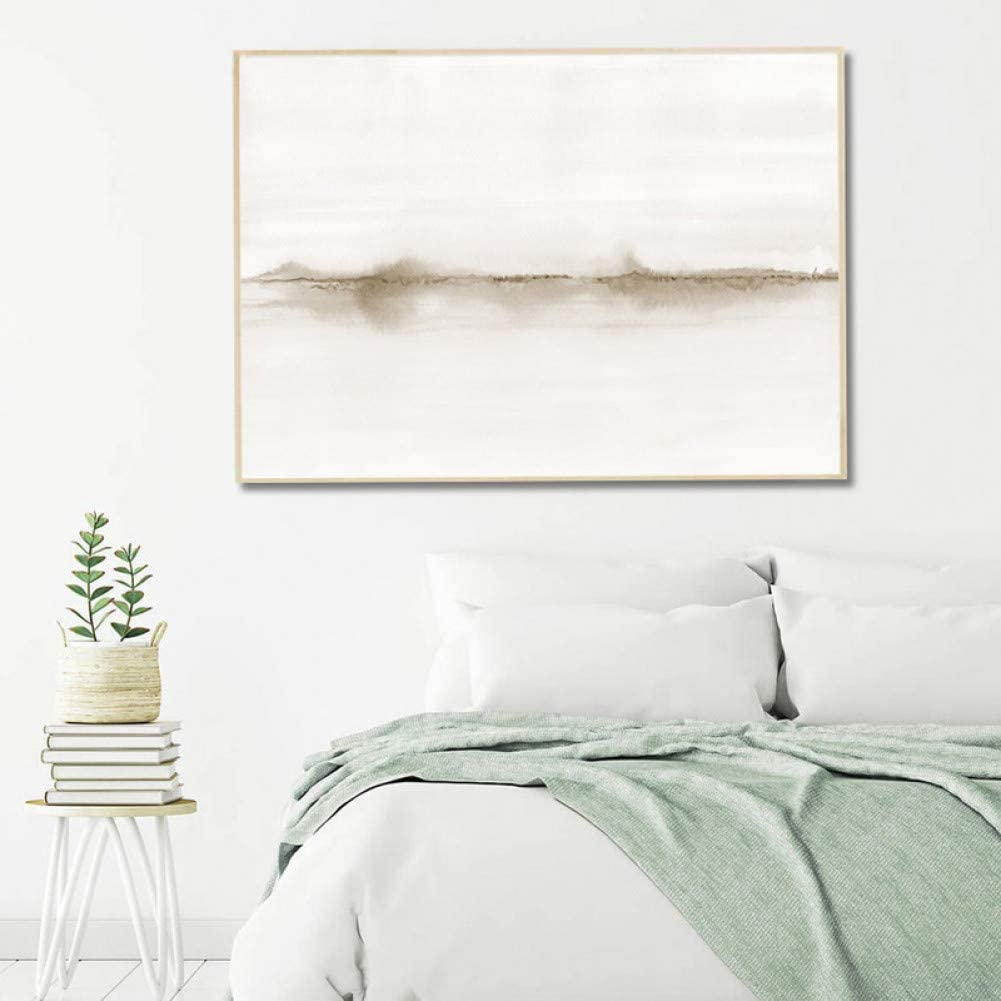 N / A Canvas Decorative Painting Neutral Watercolor Abstract Painting Canvas Print Horizontal Wall Art Picture Minimalist Poster Living Room Bedroom Home Decor Living Room Decoration Gifts