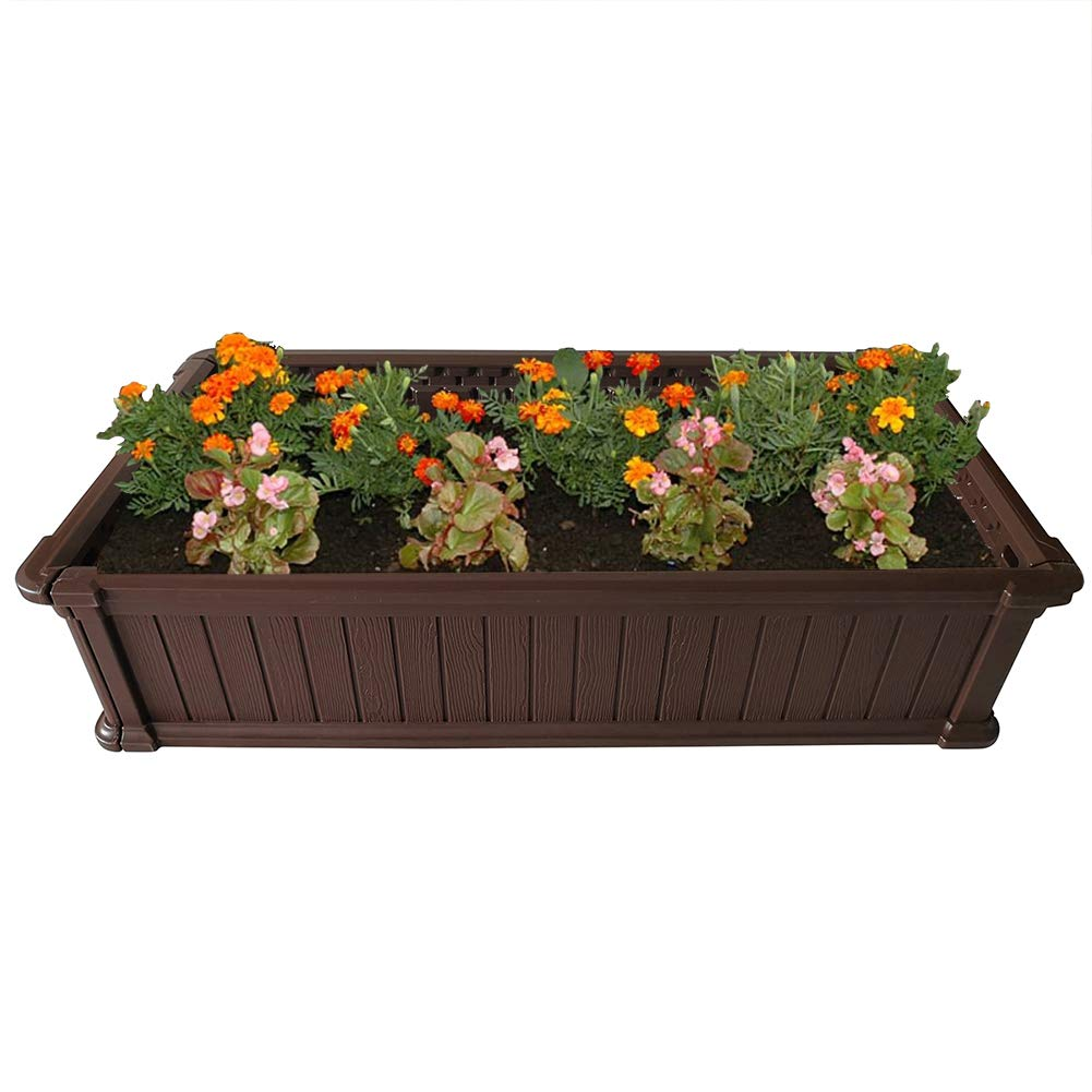 Modern Home Raised Garden Bed Kit - Stackable Modular Flower/Planter Kit (4'x2' Brown, Single)