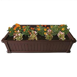 Modern Home Raised Garden Bed Kit - Stackable Modular Flower/Planter Kit (4'x2' Brown, Single)