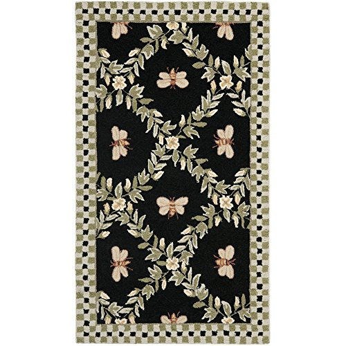 Safavieh Chelsea Collection HK55B Hand-Hooked Black Premium Wool Area Rug (3'9