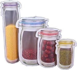20 pcs Mason Jar Bag Reusable Mason Jar Zipper Bottles Bags Leakproof Food Saver Bags for Snack Sandwich Food Storage