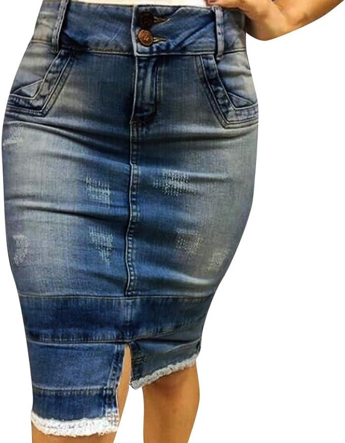 Vestiti Eleganti Con Jeans.Qijinlook Gonna Donna Vita Alta Jeans Tubino Con Cerniera