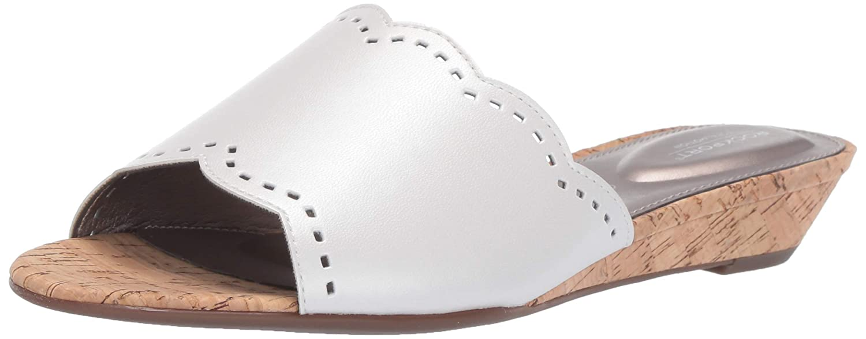White Rockport Womens Tm Zandra Slide Wedge Sandal