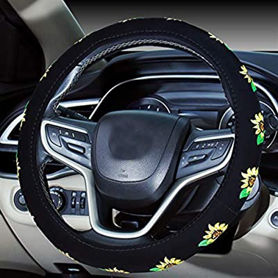 Mayco Bell Automotive Women Embroidery Cute Car Steering Wheel Cover (Sunflower): Automotive