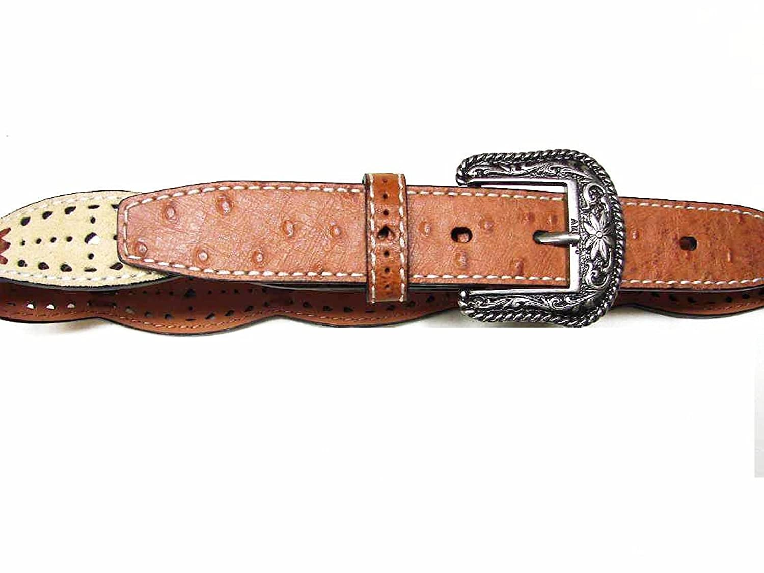 ARIAT GIRL'S NEW LEATHER BELT BROWN / BEIGE SALESMAN SAMPLE SZ 24