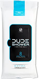 DUDE Shower Body Wipes (9 Packs, 8 Wipes Each) Unscented Naturally Soothing Aloe and Hypoallergenic, Portable Travel-Sized Individual Cleansing Cloths for Men