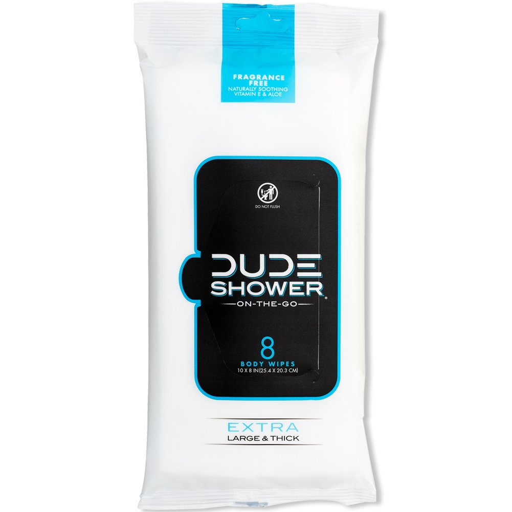 DUDE Shower Body Wipes 8 Count Pack, Unscented, Naturally Soothing Aloe and Hypoallergenic