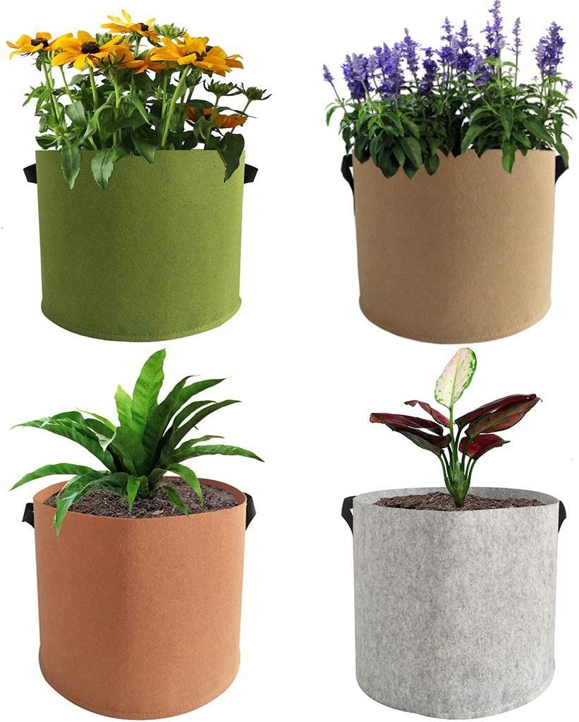 EIIORPO Plant Bags 4 Pack Colorful Mix,Durable Grow Bags 3/5/7/10/20 Gallon Nonwoven Aeration Fabric Pots with Handles,Grow Containers for Vegetable/Flower/Nursery. (4-Pack-3 Gallon)