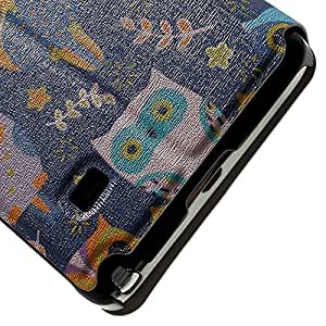 JUJEO Cartoon Owls for Samsung Galaxy Note 4 N910 Perfume Smell Leather Card Holder Case - Carrying Case - Non-Retail Packaging - Multi