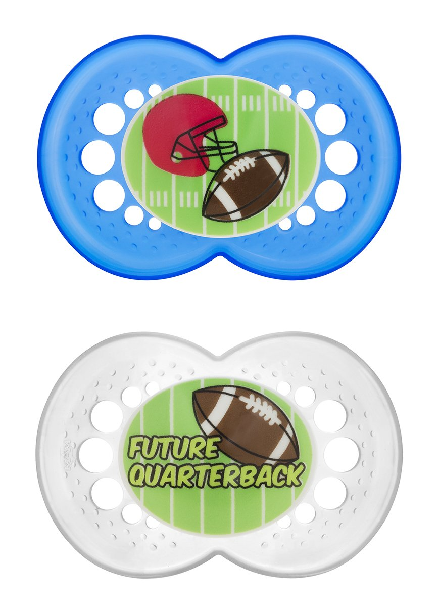 Amazon.com : MAM Sports Orthodontic Pacifier, Football, 6+ Months, 2-Count : Baby Pacifiers : Baby