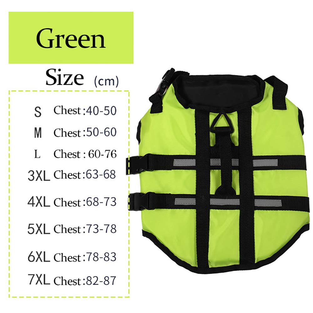 Green 5XL Green 5XL Pet Dog Life Jacket Safety Vest Surfing Swimming Clothes Summer Vacation Oxford Breathable French Bulldog,Green,5XL