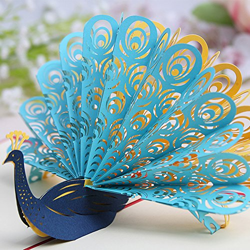 ZoCr Peacock Birthday Cards,Laser Cut Handmade 3D Cards Good wishes Cards Papercraft (Blue)