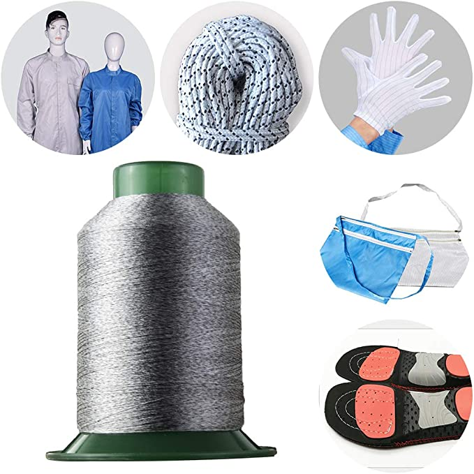 Anti-Static Shoes Anti-Static Bag High Strength Conductive Sewing Thread 1860 Yard Antistatic Sewing Thread 100D//3 for Sewing Touch Screen Gloves,Anti-Static Overalls