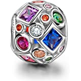 "NinaQueen ""Summer Rainbow"" 925 Sterling Silver Colorful Openwork Bead Charms"