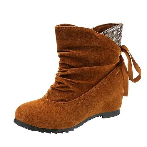 Longra Stivaletti Donna con Tacco Inverno Stivali Caviglia