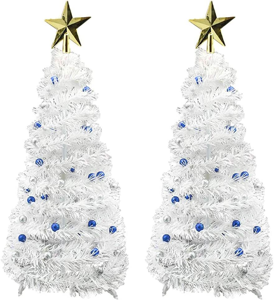 Fowecelt 2 Pack 23 Inch Pop Up Christmas Tree - White Mini Table Top Artificial Christmas Tree for Xmas Home Holiday Party Decoration Supplies (Blue & Silver)