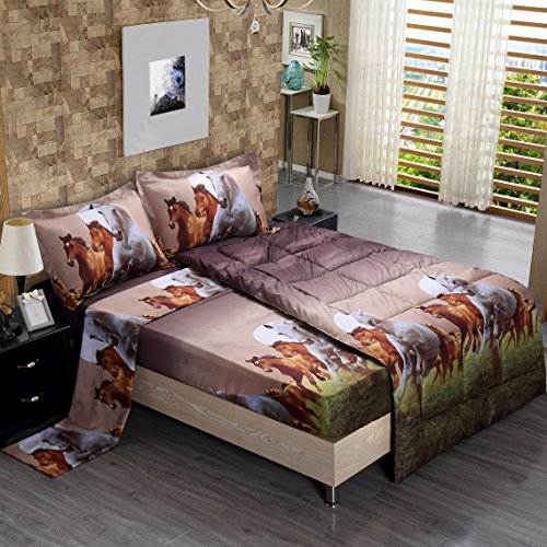 (5 Piece Set Goose Down Alternative Comforter 3D Horse Print Wrinkle,Fade Resistant Egyptian Cotton Quality Ultra Soft Matching 4-Piece Bed Sheet Set ,Flat and Fitted Sheet Pillow Case Queen (Horse))