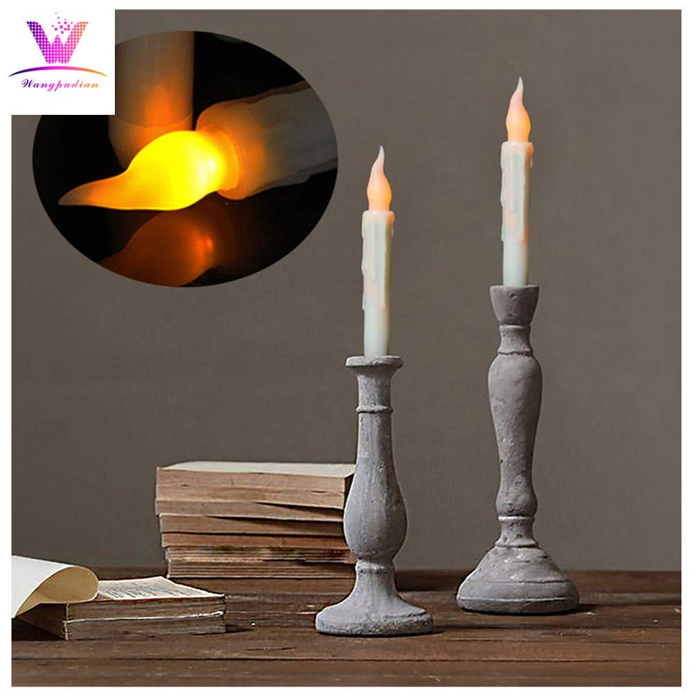 LiPing Battery Operated Flameless LED Taper Candles Lights Novelty Cream Birthday Cake Happy