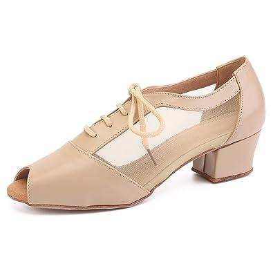 4884cd9a1 Pro Dancer Women Ballroom Dancing Shoes Salsa Sandals Latin Dance Practice  Shoe, Beige Urethane,