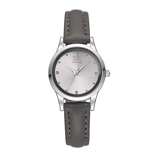 Shengke SK K0008 - Reloj de pulsera de piel con diamante para mujer: Amazon.es: Relojes