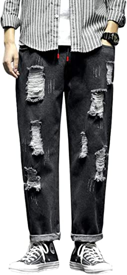 [Ksila]デニムパンツ メンズ ダメージ加工 ジーンズ ゆったり ウエストゴム ジーパン 大きいサイズ オシャレ Gパン ファッション ロング丈 ストレートパンツ デニム 通学 ズボン