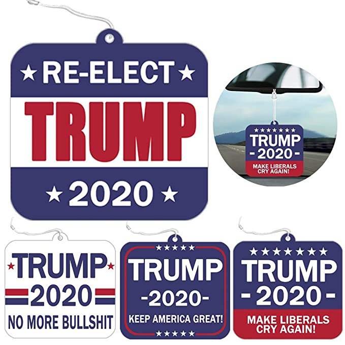 Amazon.com : Six Senses Media Pack of 4 Donald Trump Hanging Air Freshener - Auto Air Freshener or Home Air Freshener, Patriotic Election for Supporting President, 4 Scents 4 Patterns : Beauty