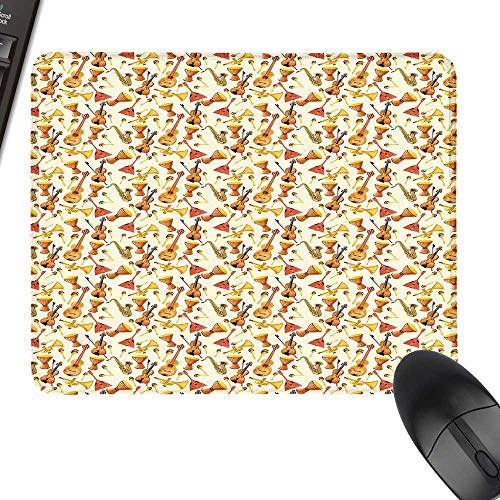 (Jazz Music Gaming Mousepad Pattern with Horn Drum Guitar and Fiddlestick Folk Music Ensemble Instruments Keyboard Mouse Pad 35.4